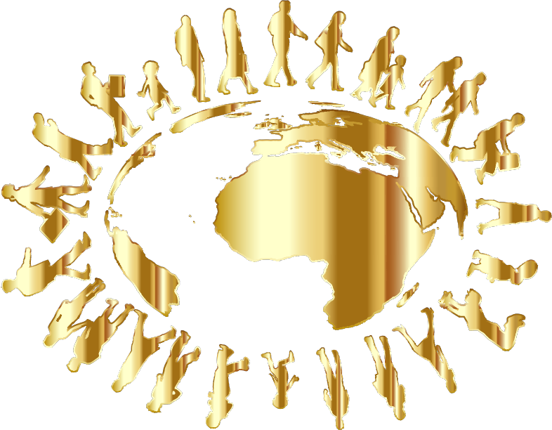 Clipart - People Circling Around The Earth Gold