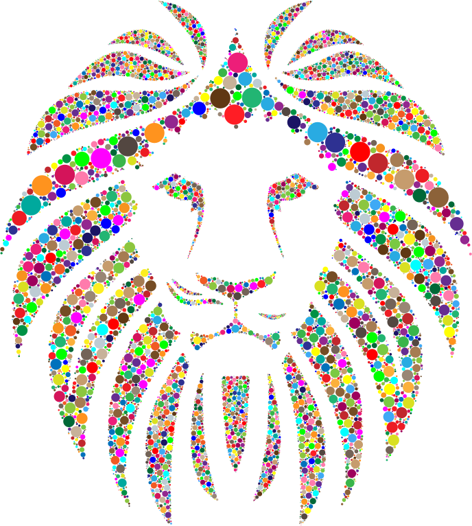 Clipart - Colorful Lion Circles No Background