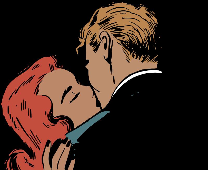 Clipart Kissing Retro Couple