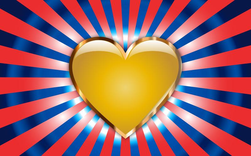Clipart - Gold Heart Starburst