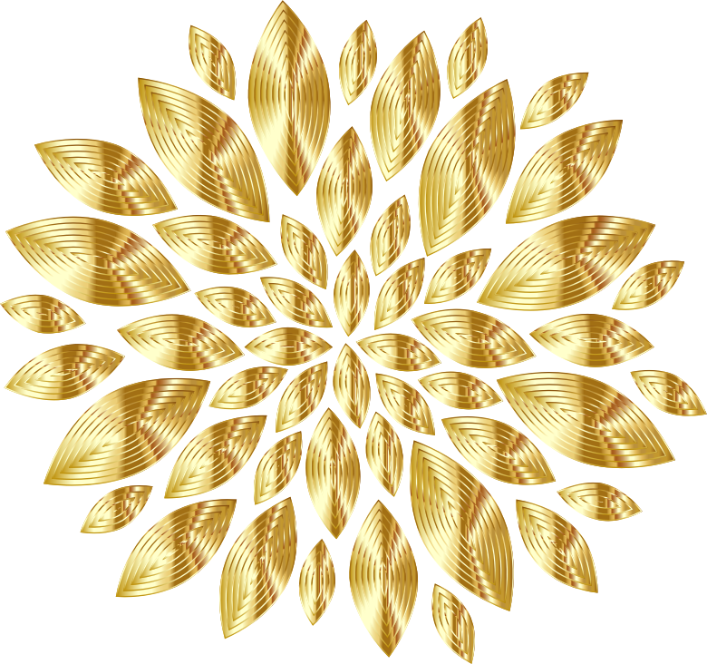 Clipart - Gold Flower Petals Variation 3