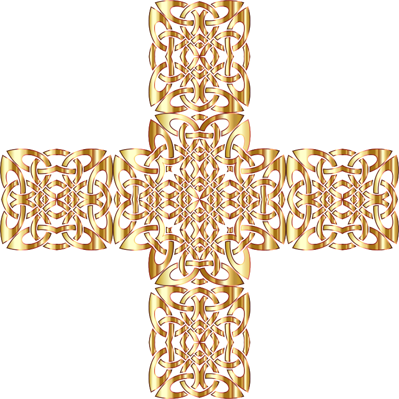 Clipart - Golden Celtic Knot Cross 3 Without Background