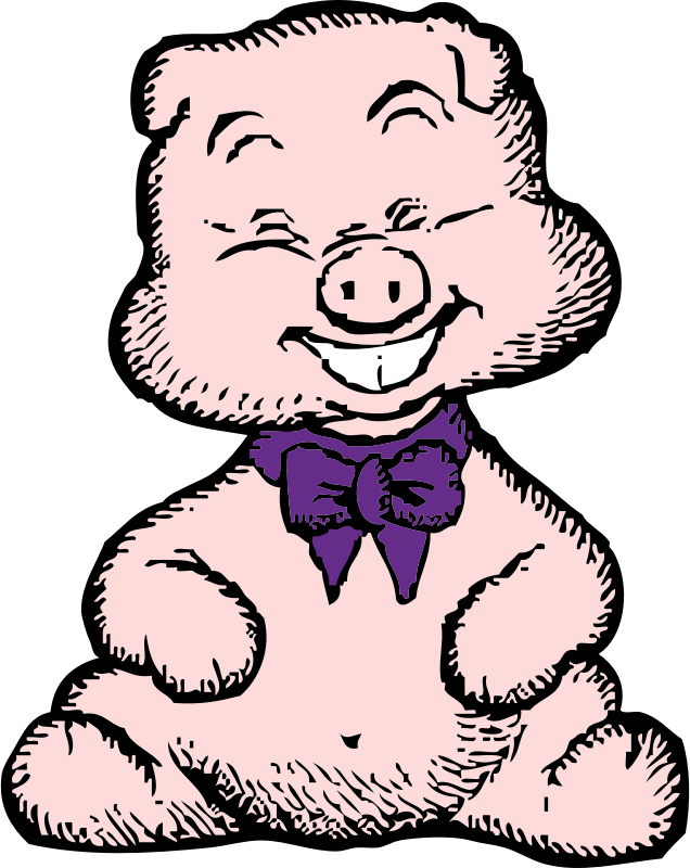 pig by johnny_automatic - a pig with a tie on from a U.S patent drawing