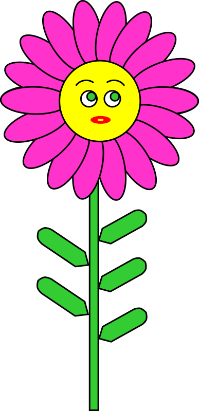 Clipart - Purple Flower with smile
