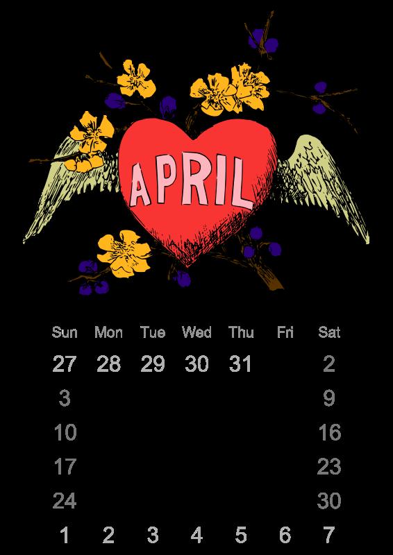 April Calendar Graphics : Clipart april calendar