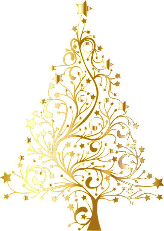 Clipart Starry Christmas Tree Gold No Background