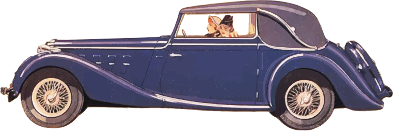 Clipart Ladies Driving Vintage Car