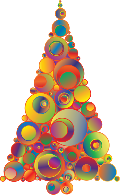 Clipart colorful abstract circles christmas tree