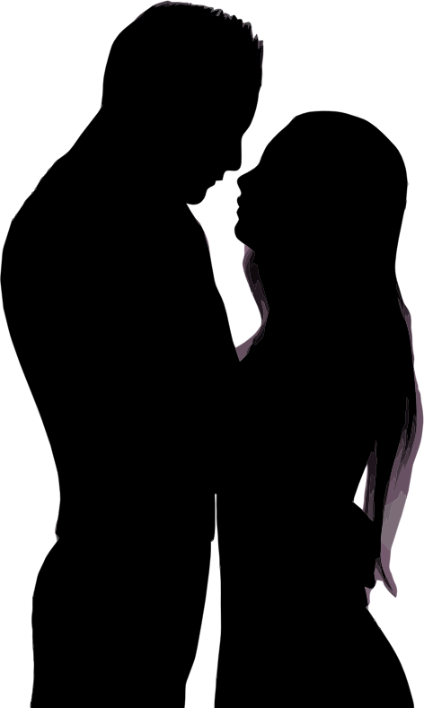 Clipart - Embracing Couple Silhouette-6688
