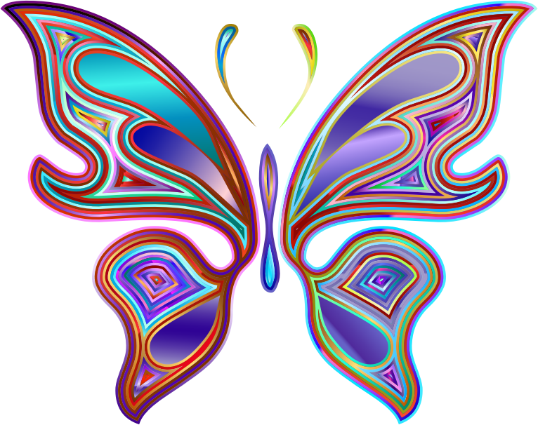 Clipart - Prismatic Butterfly 6 Variation 2