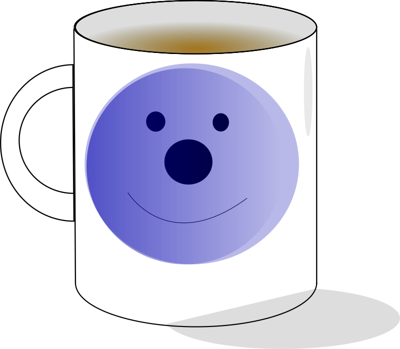mug by Anonymous - A mug with a blue smiley.