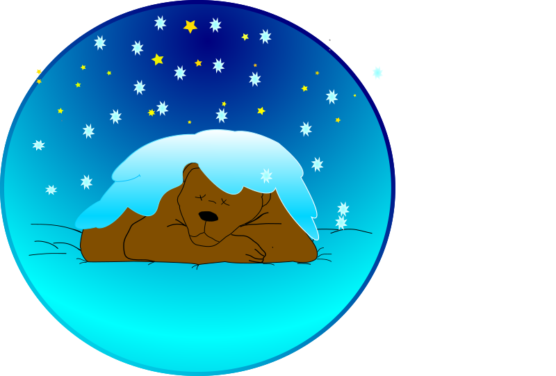Sleeping bear under the snow by Anonymous - Brown bear sleeping, covered with snow. By Frank Scheuer. From old OCAL website.  If this is your clipart, please reclaim it by emailing love@openclipart.org