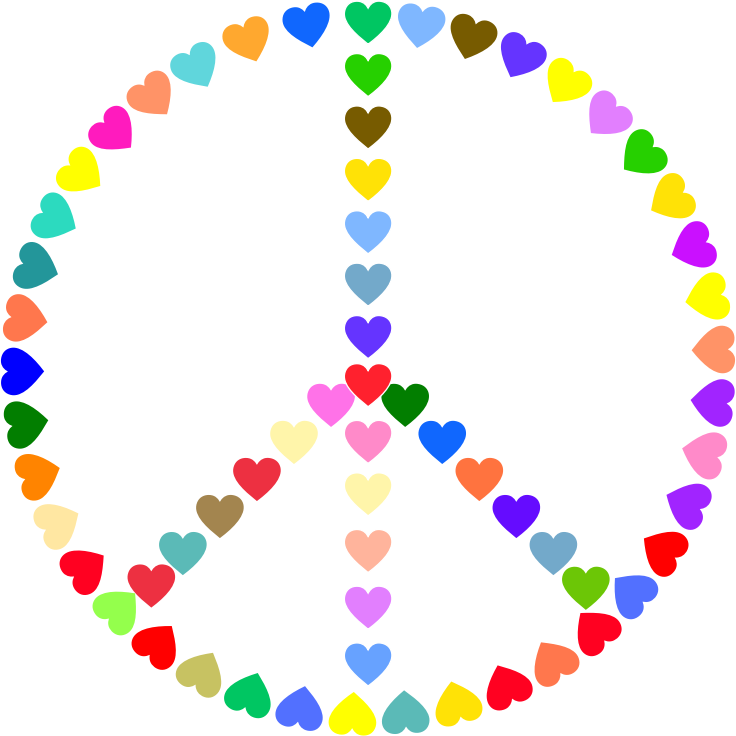 Clipart Colorful Peace Sign Love