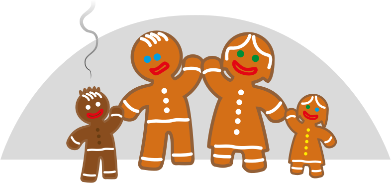 Clipart - Family life of the gingerbread man