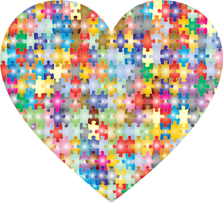 Clipart - Colorful Puzzle Heart 3