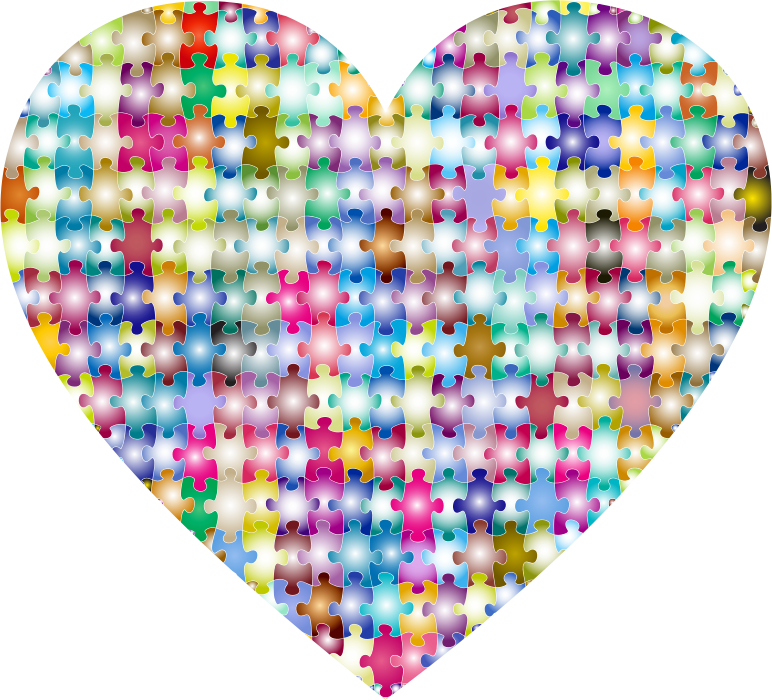 Clipart - Colorful Puzzle Heart 4