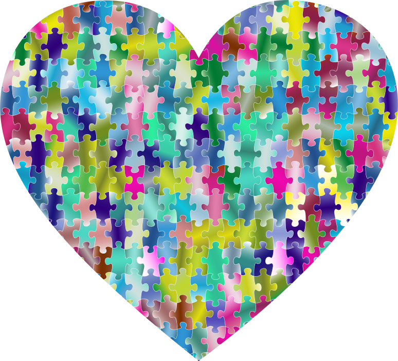 Clipart - Colorful Puzzle Heart 6