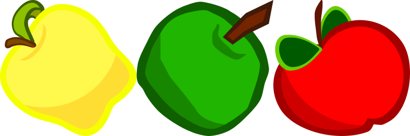Three Cartoony Apples by qubodup - A yellow, green and red apples.