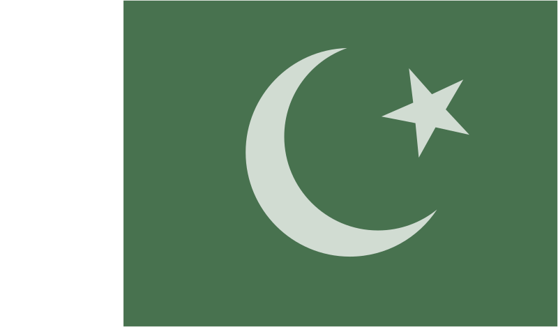 Flag of Pakistan by Anonymous - The official Pakistan flag. Original upload by Ali Hussnain Shah. Edited by Chovynz (removed black outlines on flag sections. White section is 1/4 of the green section).