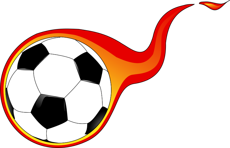 Flaming soccer ball by Anonymous