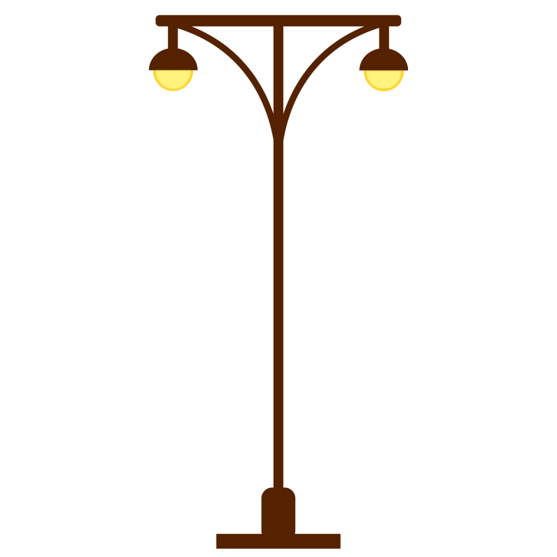 Clipart - Street Lamp Post- Light Post, two lights.