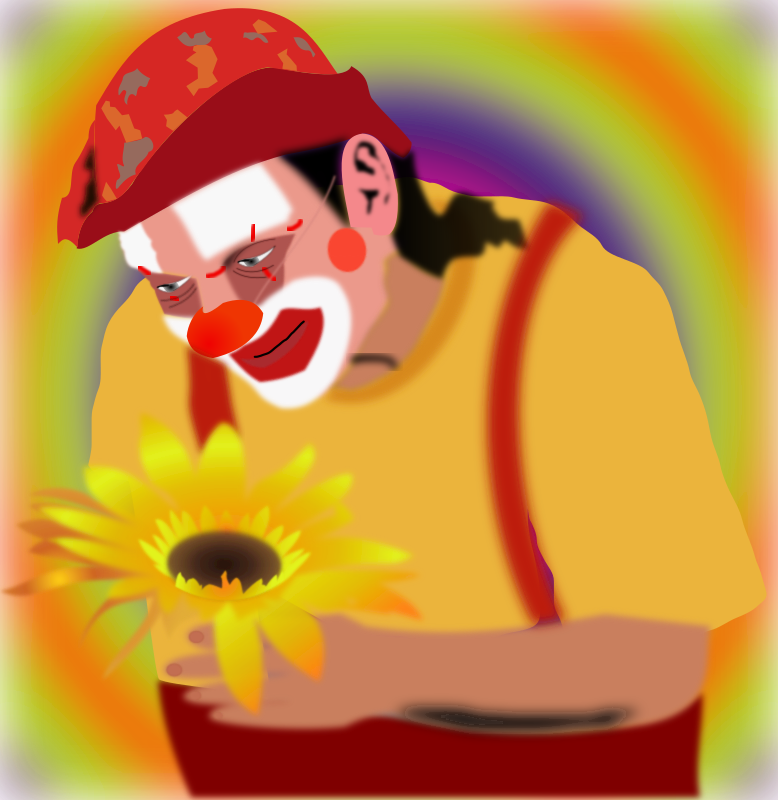 clown by ferguweb - A smiling clown holding a sunflower in his hand