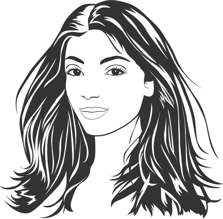 Line art woman : Clipart woman with long hair line art