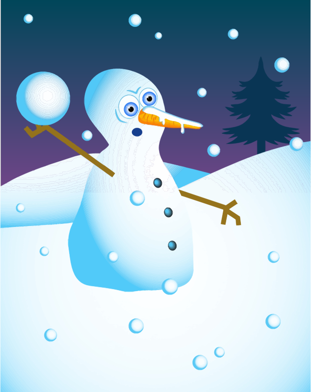 Clipart - Snowball Fight Snow Man