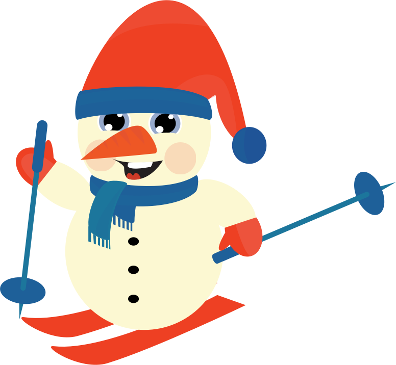 Clipart - Skiing Snow Man