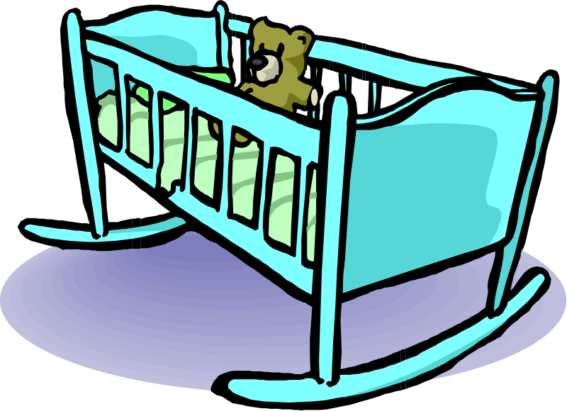 Cradle by liftarn - A cradle with a teddy in it.