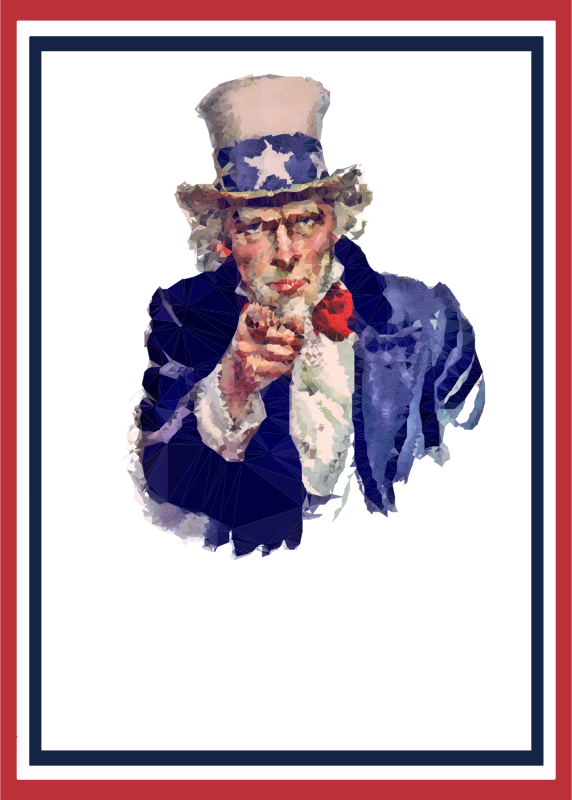 Clipart - Low Poly Uncle Sam World War 2 Poster