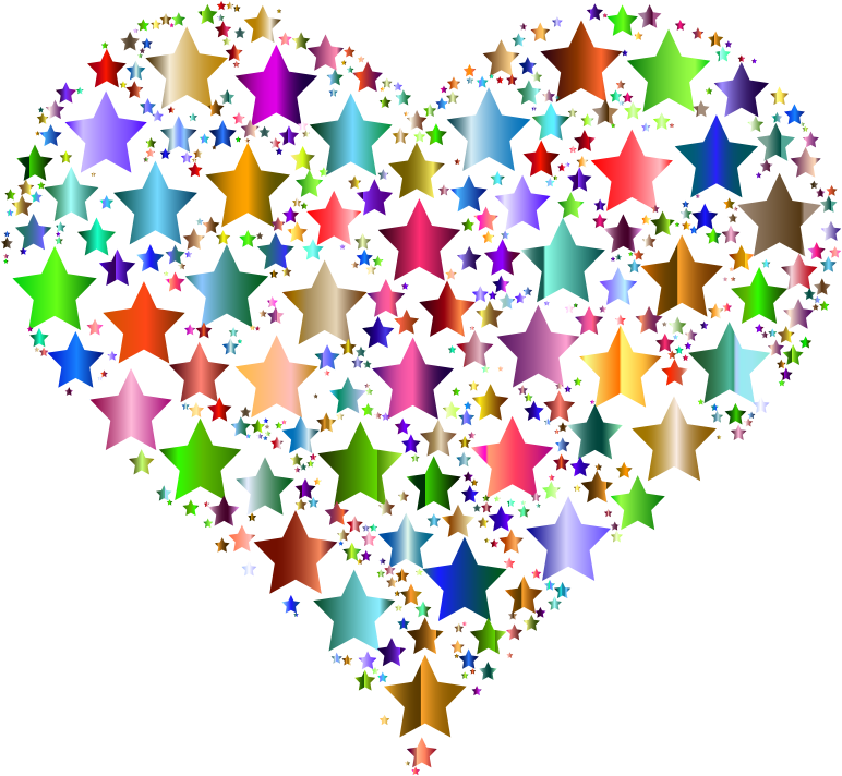 Clipart - Colorful Heart Stars 8