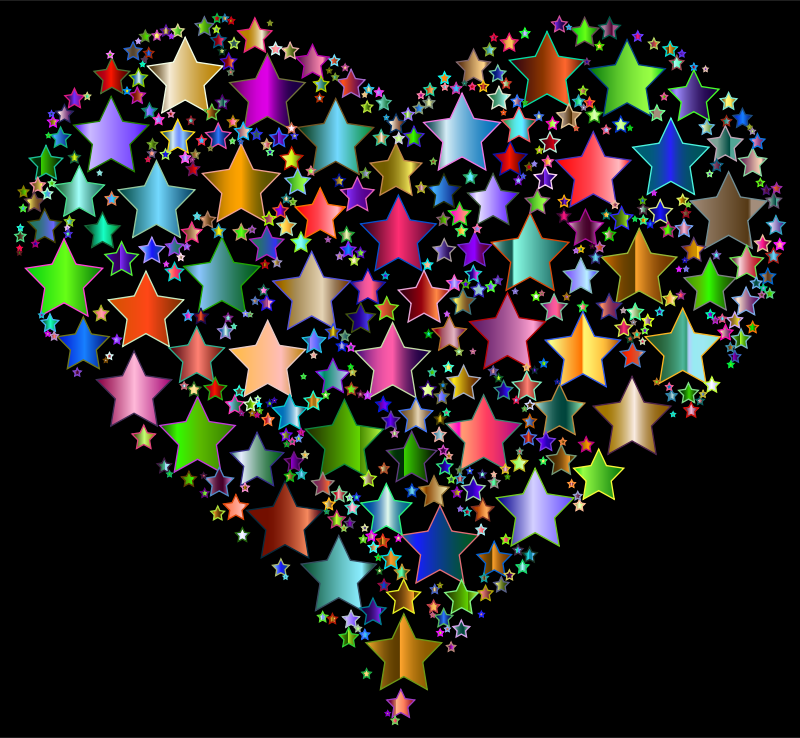 Clipart - Colorful Heart Stars 9