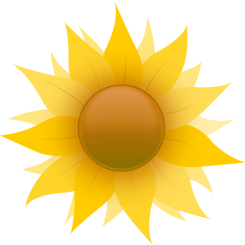 Sunflower by mokush - A cartoony sunflower. It has a sort of 'icony' feel to it, but it is purely coincidental. I suggest recoloring if it is used for any serious work.