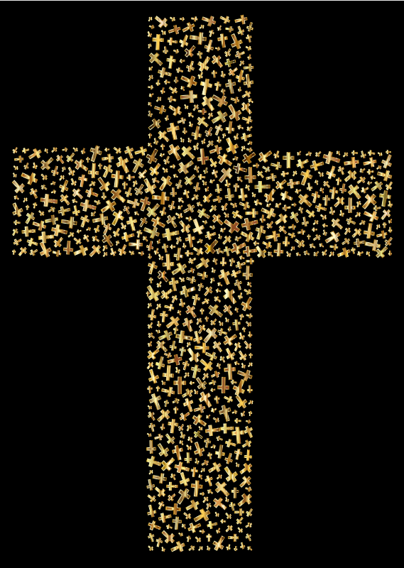 Clipart - Gold Cross Fractal With Background