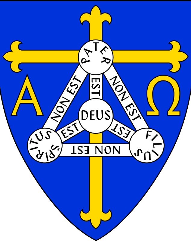 Coat of Arms of Anglican Diocese of Trinidad by Anonymous - Coat of arms of Anglican diocese of Trinidad - includes Christian symbols of Cross, Alpha and Omega, and Shield of Trinity. By AnonMoos. From old OCAL 0.18 database.