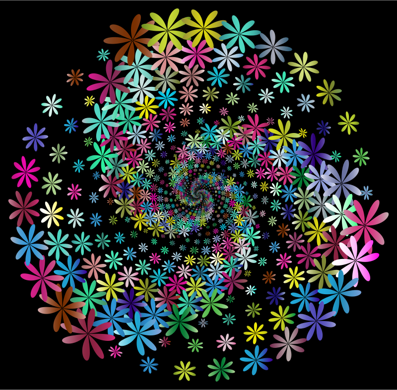 Clipart - Prismatic Floral Vortex 4 With Background