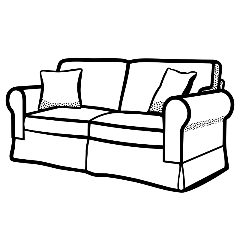 Sofa Lineart on black sofa and loveseat