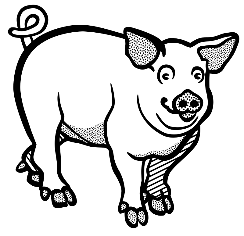 Piglet Line Drawing : Clipart pig lineart