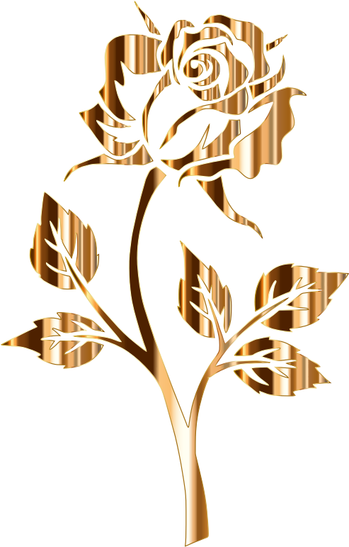 Clipart Gold Rose Silhouette 2 No Background