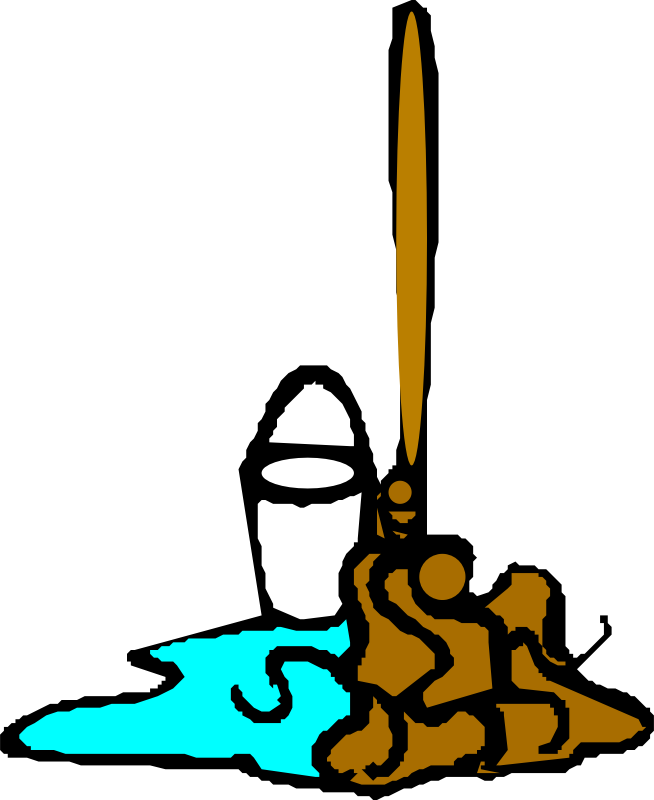 "Mop and bucket by liftarn - Converted to SVG from clipart on ""PC för alla"" CD 3-2003."
