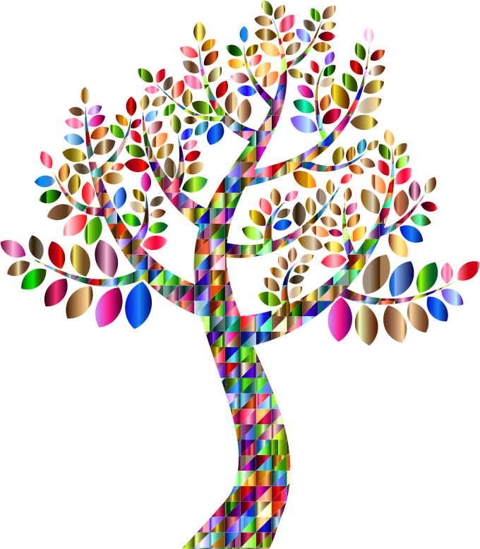 Clipart Chromatic Triangular Simple Prismatic Tree