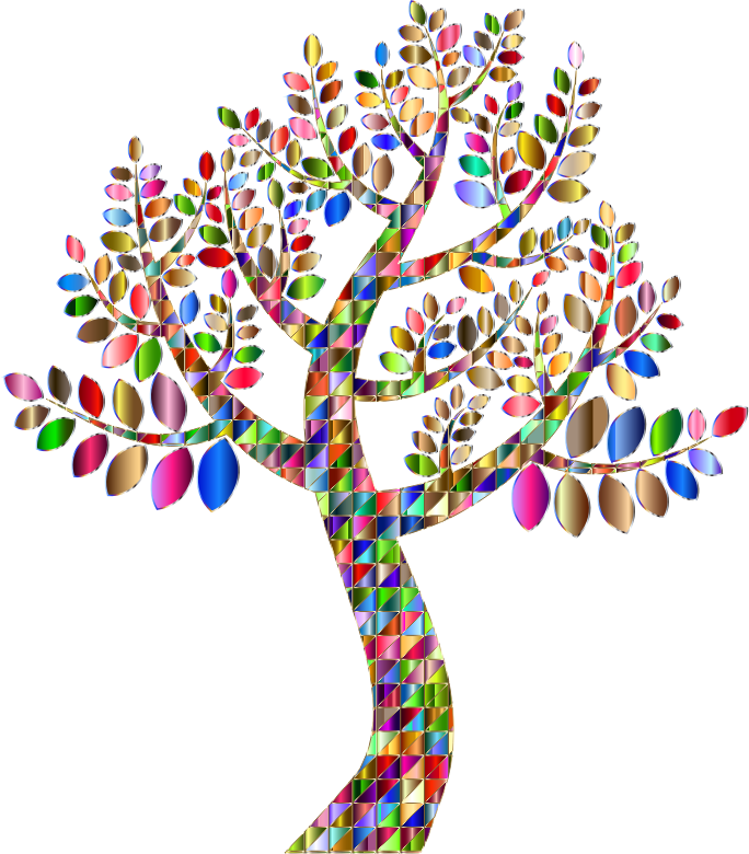 Clipart - Complex Prismatic Tree Variation 2 No Background