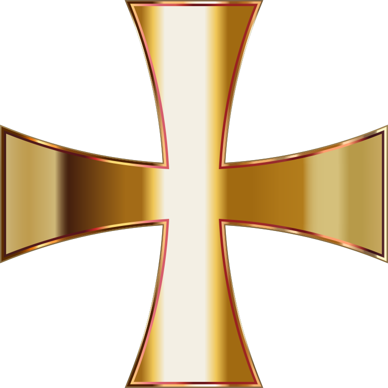 Clipart - Gold Maltese Cross No Background