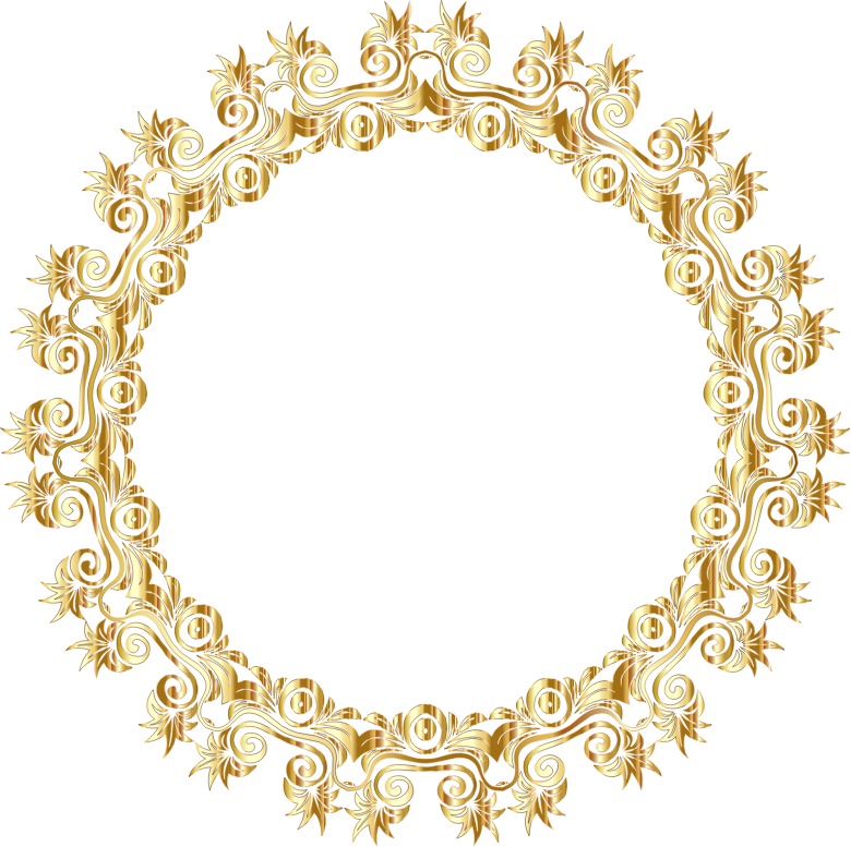 clipart gold floral flourish motif frame no background