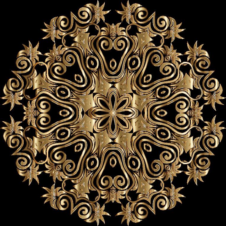 Clipart Gold Floral Flourish Motif Design No Background