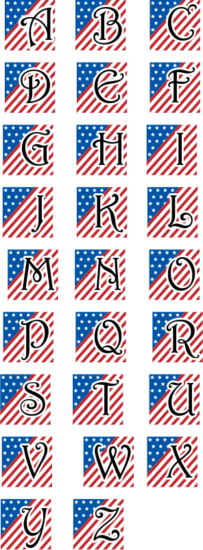Clipart - Patriotic Alphabet using Harrington Font