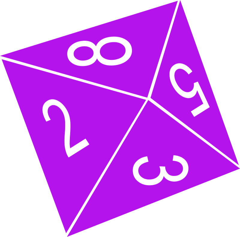 Clipart - D8 (Eight Sided) Dice