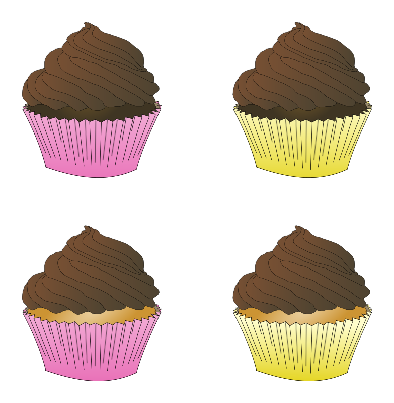 Clipart - Assorted Chocolate Frosted Cupcakes