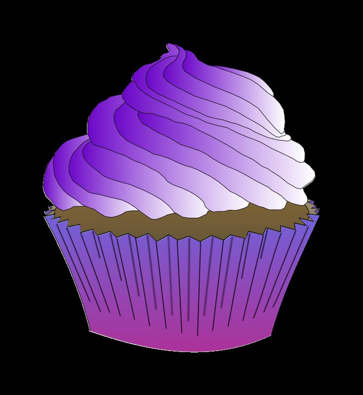 Clipart - Chocolate Purple Cupcake